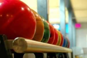 A rack of bowling balls